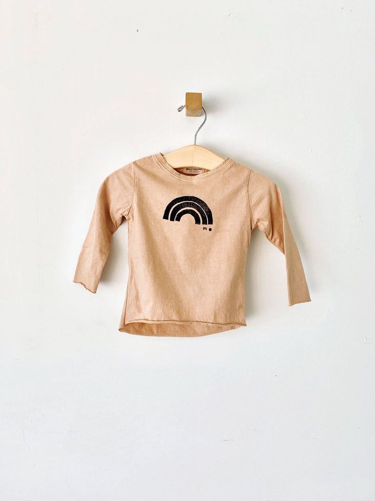 raw edge tee / black rainbow - camel rose