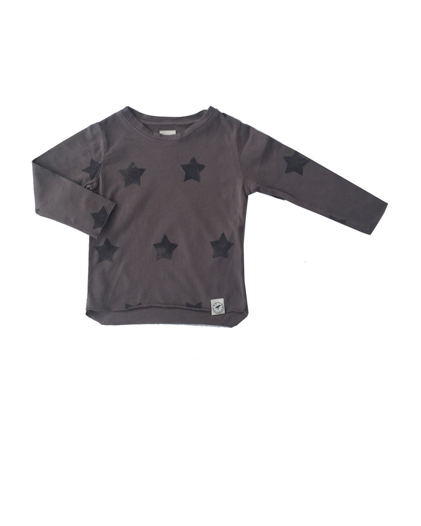 raw edge tee with stars - sahara grey