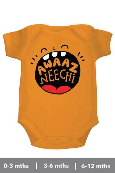 Awaaz Neechi Personalised onesie/bodysuits/rompers for kids United States (US) from Zeezeezoo