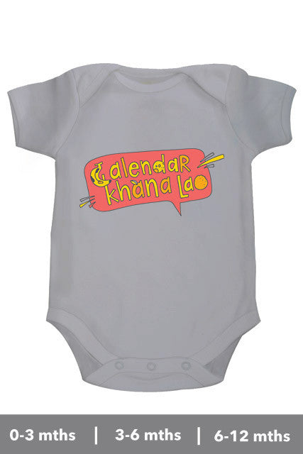 Calendar Khana Lao Personalised onesie and Rompers for Bollywood loving parents in US from zeezeezoo