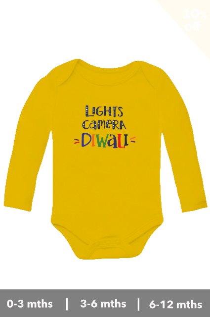 Lights camera diwali printed yellow colour onesie-romper for babies