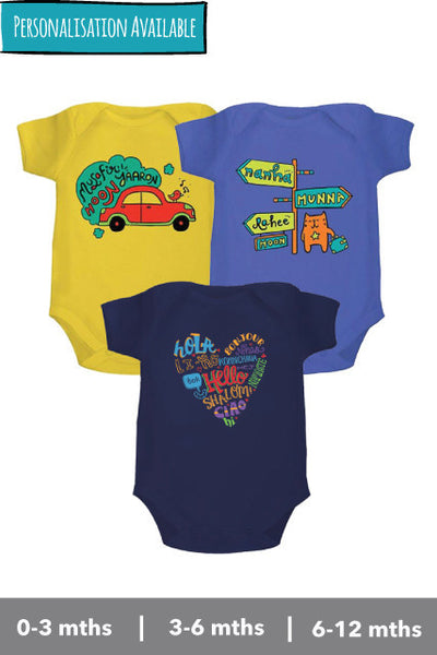 Onesie, bodysuits, rompers set of Musafir hoon yaaron, hello and nanha munna rahee from zeezeezoo 100% cotton