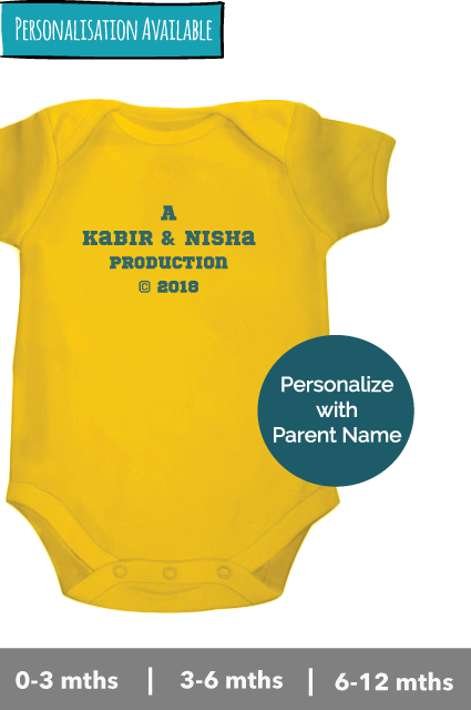 Parents name 'Production' year onesie romper