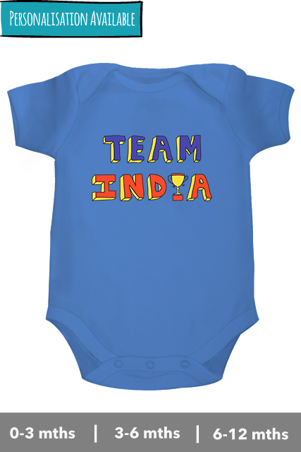 Team India Personalised ONESIES FOR BABIES with name and number for kids/babies