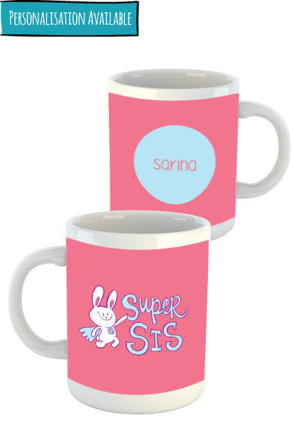 Super Sis Personalised Mug for sister Zeezeezoo brand