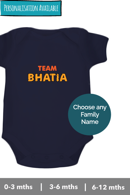 Team-surname-personalised romper-onesie with your family name