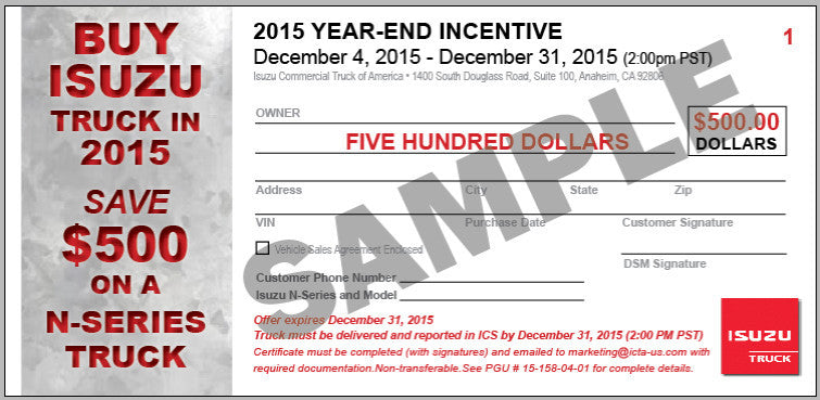 Isuzu Year End Incentive