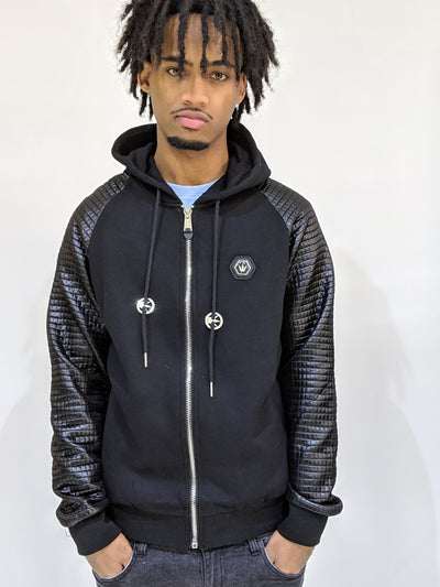 Worthy Pleated Sleeve Zip Hoodie