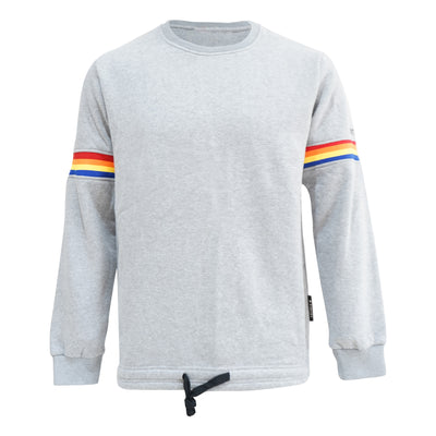 Worthy Rainbow Stripe Sweater - Gray