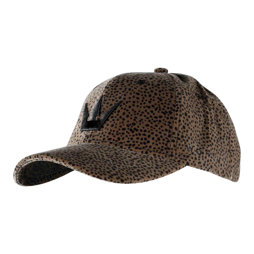Worthy Suede Crown Dad Hat - Brown Leopard Print