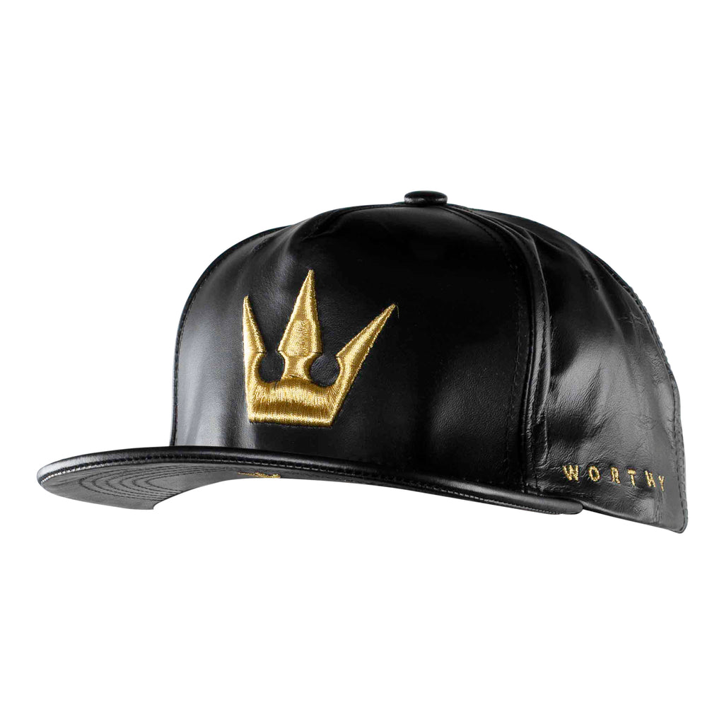 Worthy Crown Strapback Gold - Black Leather