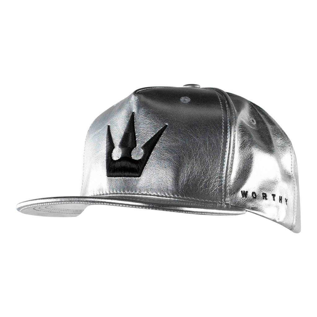 Worthy Crown Strapback Black - Silver Leather