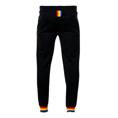 Worthy Rainbow Stripe Joggers - Black