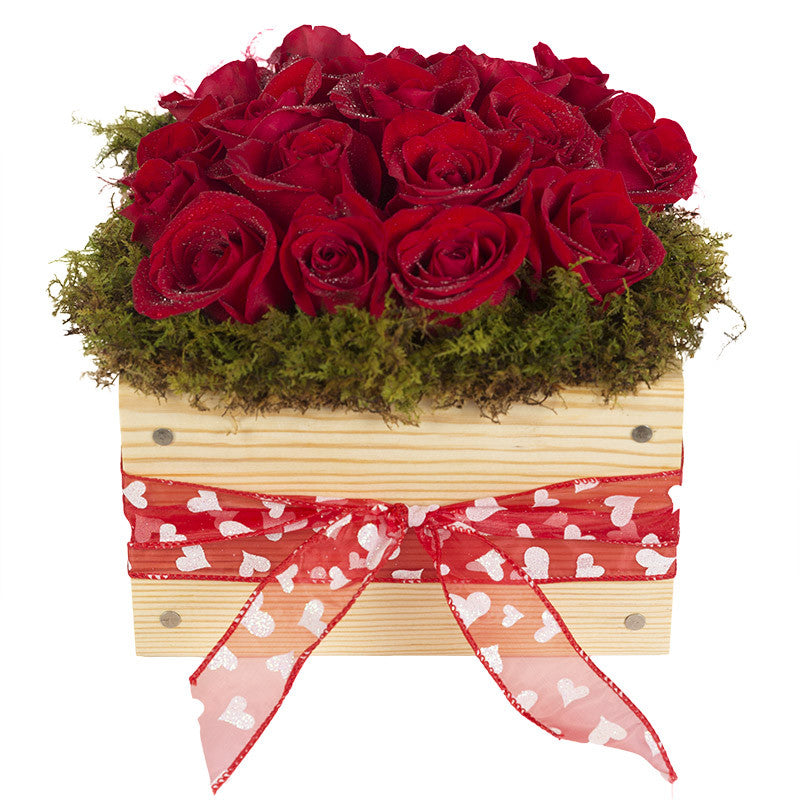 XOXO     Valentine's Day Red Roses with Red/White Heart Ribbon