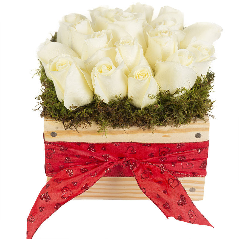 XOXO       Valentine's Day White Roses with Red Heart Ribbon