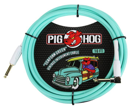 "Pig Hog ""Seafoam Green"" Instrument Cable, 10ft Right Angle"