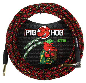 "Pig Hog ""Tartan Plaid"" Instrument Cable, 20ft Right Angle"