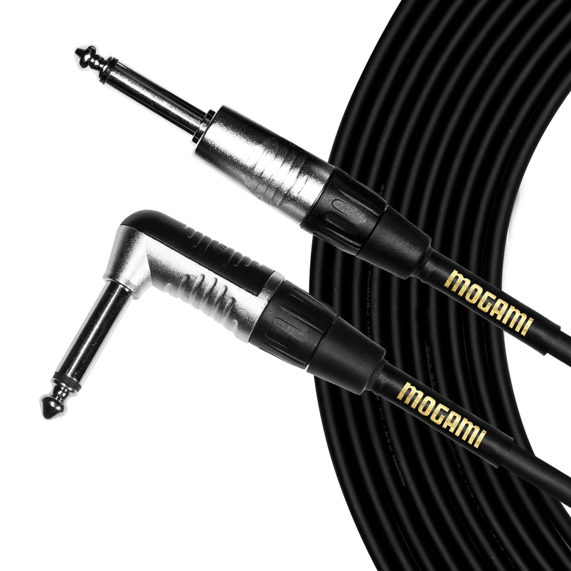 "Mogami CorePlus 1/4"" TS, 20' Instrument Cable - Right-angle to Straight"