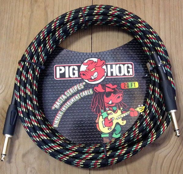 "Pig Hog ""Rasta Stripes"" Instrument Cable 20'"