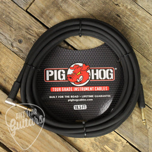 "Pig Hog 18.5ft 1/4"" - 1/4"" Right Angle 8mm Instrument Cable"
