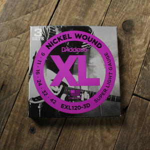 D'Addario - EXL120-3D Electric Guitar Strings 3-pack