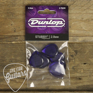 Dunlop Stubby 2.0mm Picks - 6 Pack