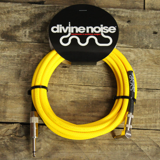 Divine Noise Tech Flex Straight to Right Angle 15 foot Instrument Cable - Neon Yellow UV Reactive