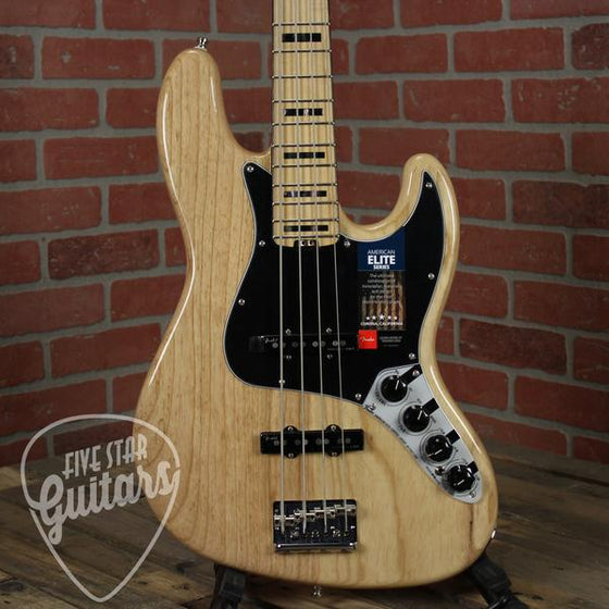Floor Model Fender American Elite Jazz Bass Ash, Maple Fingerboard, Natural