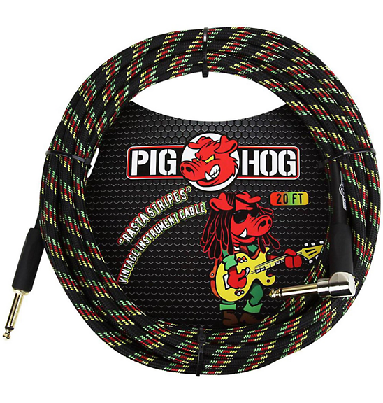 Pig Hog 20 ft. Right Angle Instrument Cable Rasta Stripes