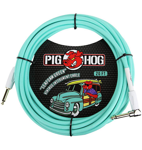 Pig Hog 20 ft. Right Angle Instrument Cable Seafoam Green