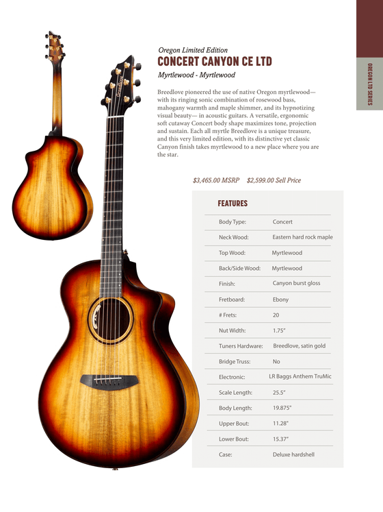 PRE-ORDER Breedlove Oregon Limited Edition CONCERT CANYON CE LTD Myrtlewood - Myrtlewood