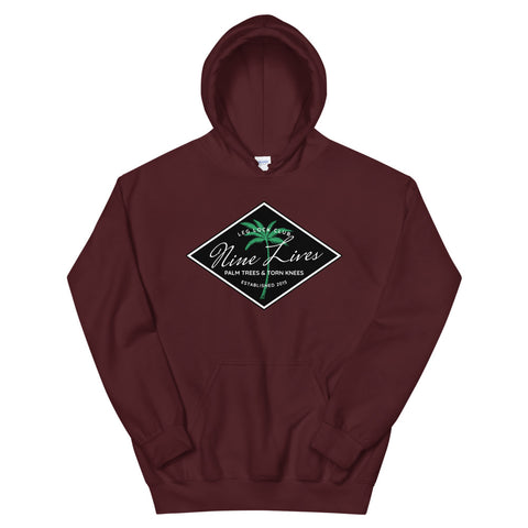 Palm Trees & Torn Knees Hoodie - (Maroon, Black or White) - Nine Lives Jiu Jitsu