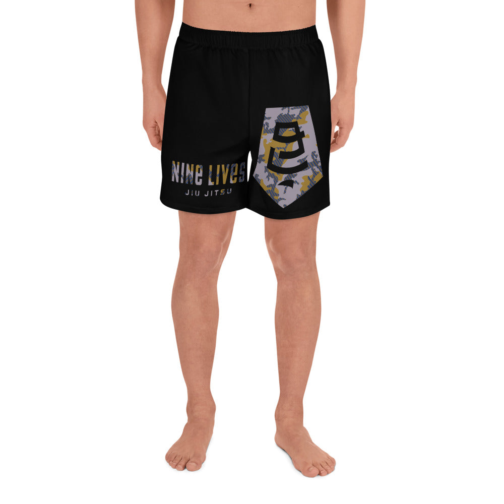 Badge Camo Men's Athletic Shorts - Nine Lives Jiu Jitsu