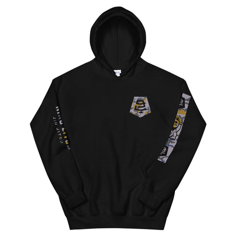 Badge Camo Hoodie Black - Nine Lives Jiu Jitsu