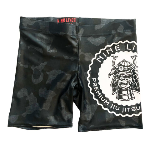 Samurai Cat Vale Tudo Shorts - Camo Black - Nine Lives Jiu Jitsu