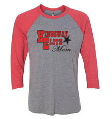 ADULT 3/4 SLEEVE UNISEX BASEBALL RAGLAN HEATHERED GRAY/RED