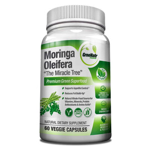 Pure Moringa Oleifera Leaf Extract Veggie Capsules - 1000mg per Serving