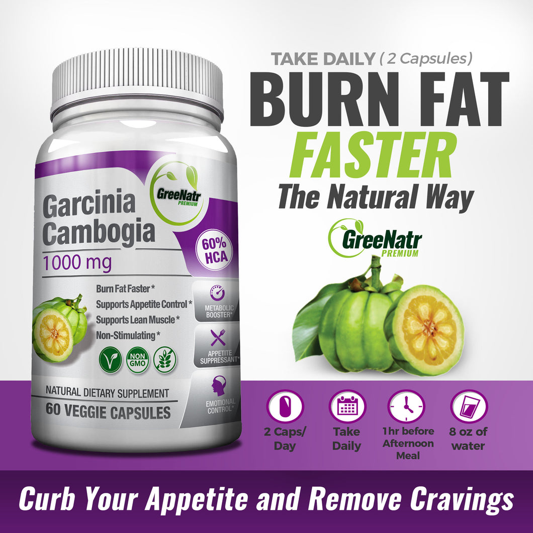 Pure Garcinia Cambogia Extract 1000mg 60 Hca Appetite Suppressant
