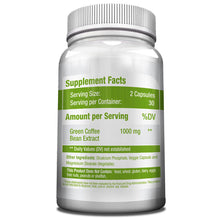 Green Coffee Bean Extract 1000 mg, 50% Chlorogenic Acids, Non-GMO, Gluten Free, Vegan Antioxidant Capsules