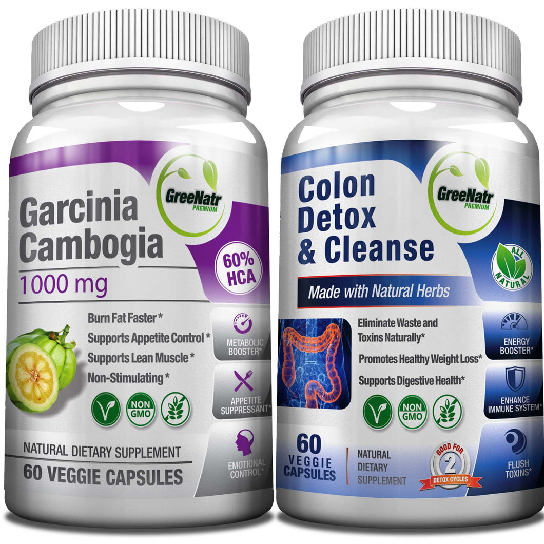 15 Day Colon Cleanser Detox + Garcinia Cambogia Weight Loss Bundle with Probiotic
