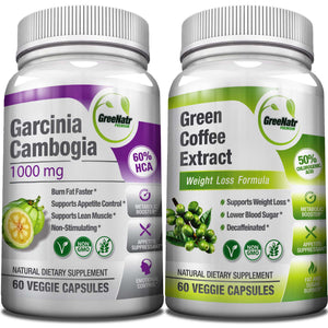 Garcinia Cambogia and Green Coffee Extract, Natural Weight Loss Bundle, 1000mg per Serving