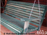 Cypress 5 foot Roll Back Porch Swing