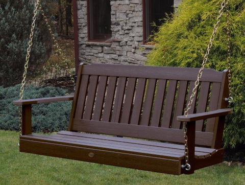 Highwood Lehigh Porch Swing Weathered Acorn - Magnolia Porch Swings  - 1