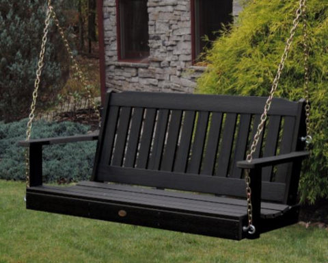 Highwood Lehigh Porch Swing in Black - Magnolia Porch Swings  - 1