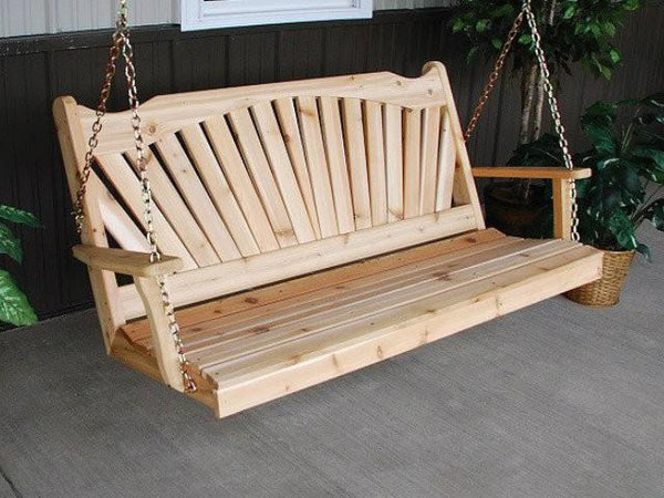Fan-Back Red Cedar Porch Swing by A&L Furniture