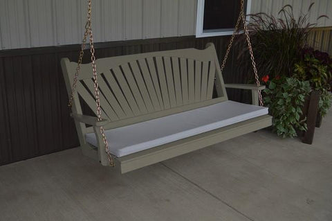 A&L Furniture Fan-Back Pine Swing - Magnolia Porch Swings  - 9