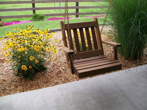 A&L Furniture Traditional English Cedar Chair Swing 401C - Magnolia Porch Swings