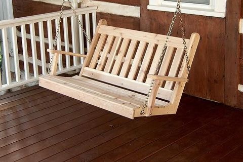 A&L Furniture Traditional English Red Cedar Porch Swing 402C 403C 404C - Magnolia Porch Swings  - 1