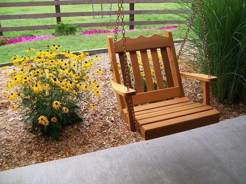 A&L Furniture Royal English Garden Cedar 2 Foot Chair Swing 411C - Magnolia Porch Swings