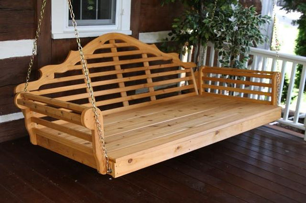"A&L Furniture Marlboro Red Cedar Swing Bed 75"" Twin 426C - Magnolia Porch Swings  - 1"